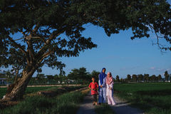 Children at the are of Paddy Field in Malaysia. During Hari Raya Royalty Free Stock Photos