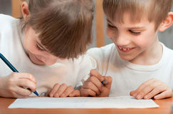 Children draw Stock Image