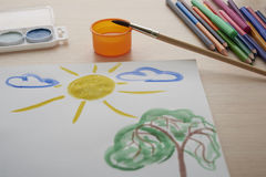 Children paint picture Stock Photography