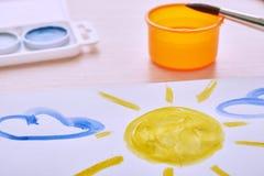 Children paint picture stock images