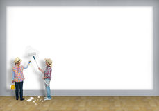 Children paint roller wall Royalty Free Stock Image