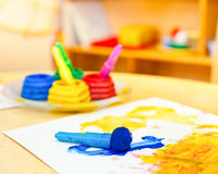 Children paintbrushes Royalty Free Stock Images