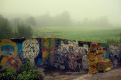 Children painted abandoned space for pool Royalty Free Stock Photography