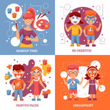 Children With Painted Faces Concept Icons Set Stock Image