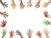 Children painted hands royalty free stock photos