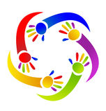 Children painted hands logo. Vector design Royalty Free Stock Photography