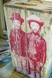 Children painted on old box Royalty Free Stock Photography