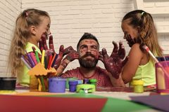 Children painted the parent. Fathers day and family concept royalty free stock images