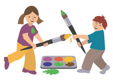 Children_painters_swordsmen. Playing children with brush and colors Stock Photo