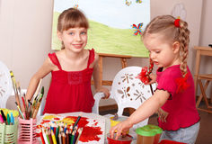 Children painting in art class. Stock Image
