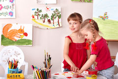 Children painting in art class. Royalty Free Stock Photography
