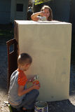 Children painting box playhouse Royalty Free Stock Image