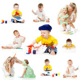Children painting and drawing pencils. On white background Royalty Free Stock Photography