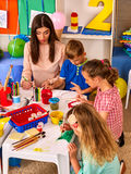 Children painting and drawing together . Craft lesson in primary school. Royalty Free Stock Image