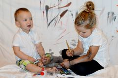 Children painting everywhere Royalty Free Stock Photos