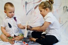 Children painting everywhere Stock Images