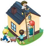Children painting and fixing the house Royalty Free Stock Photos