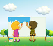 Children painting. Illustration of the children painting Royalty Free Stock Photography