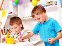 Children painting  in kindergarten. Stock Photography