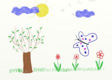 Children painting - landscape Stock Photography