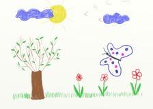 Children painting - landscape stock photography