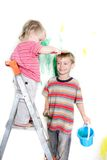 Children painting over white Royalty Free Stock Image