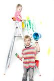 Children painting over white Royalty Free Stock Photos