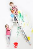 Children painting over white Stock Photo