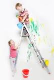 Children painting over white Stock Photo