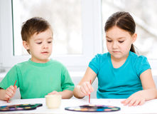 Children are painting with paint Stock Photo