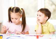 Children are painting with paint Royalty Free Stock Image