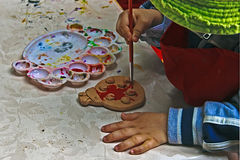 Children painting pottery 8 Stock Photo