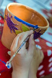 Children painting pottery 18 Stock Image