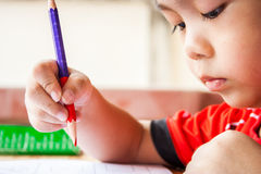 Children is painting. Royalty Free Stock Photo
