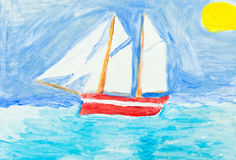 Children painting - sailing vessel in blue ocean Stock Photos