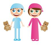 Children in pajamas Stock Photo