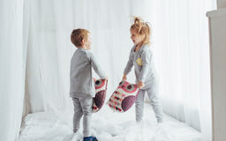 Children in pajamas Stock Images