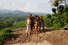 Children in a panoramic place. Cuban children stand for a photograph in a panoramic place in Trinidad (Cuba Royalty Free Stock Photo