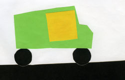 Children of paper applique car Royalty Free Stock Photo