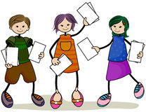 Children with Papers Stock Photo