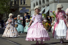 Children parade, Zurich, Switzerland. Children in historic costumes at the spring festival parade Sechselauten in Zurich, Switzerland Royalty Free Stock Images
