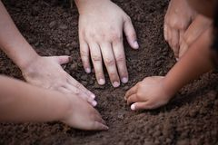 Children and parent helping prepare soil for planting together Stock Photography