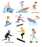 Children and parents go in for sports together royalty free illustration