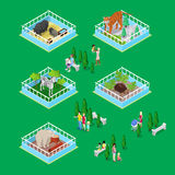 Children with Parents in Outdoor Zoo Park with Animals. Isometric flat 3d illustration Royalty Free Stock Photo