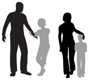 Children parents silhouette Royalty Free Stock Image