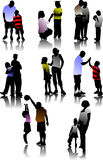 Children  with parents silhouettes. Royalty Free Stock Photo