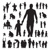 Children and parents silhouettes set Royalty Free Stock Photography