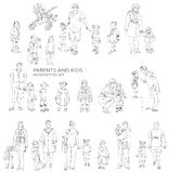Children and parents silhouettes, Royalty Free Stock Photos