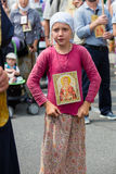 Children and parishioners Ukrainian Orthodox Church Moscow Patriarchate during religious procession. Kiev, Ukraine Royalty Free Stock Photos