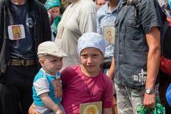 Children and parishioners Ukrainian Orthodox Church Moscow Patriarchate during religious procession. Kiev, Ukraine Royalty Free Stock Photo